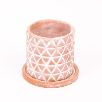 Diamond terracotta planter with saucer | Gallery 2 | TradeAid