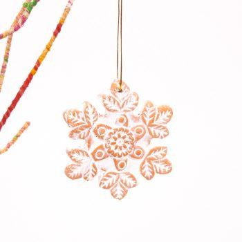 Terracotta snowflake decoration | TradeAid