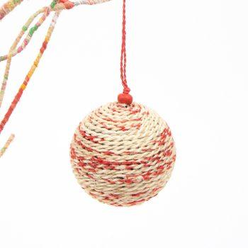 Red and natural jute christmas ball   TradeAid