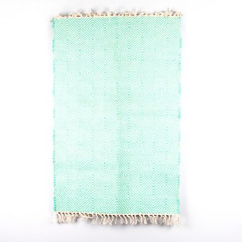 Turquoise and white diamond design rug | Gallery 1 | TradeAid