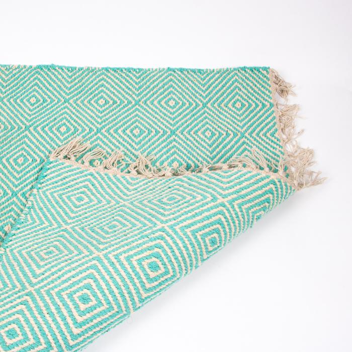 Turquoise and white diamond design rug   TradeAid