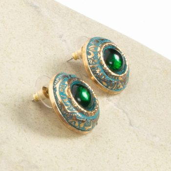 Green and brass stud earring | Gallery 1 | TradeAid