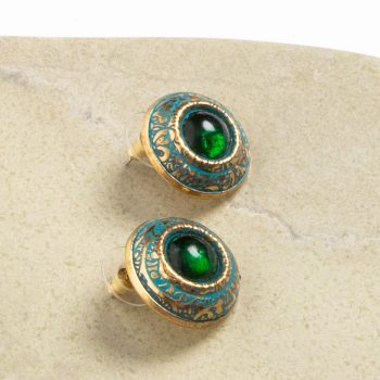 Green and brass stud earring | TradeAid