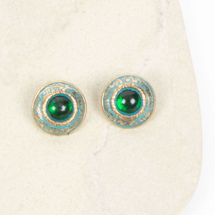 Green and brass stud earring | Gallery 2 | TradeAid