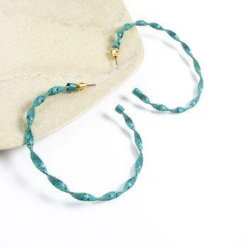 Teal twisted hoop earring | Gallery 2 | TradeAid