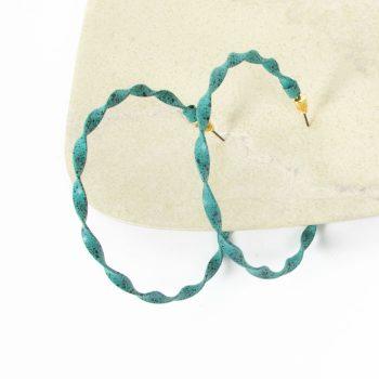Teal twisted hoop earring | Gallery 1 | TradeAid