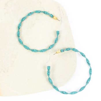 Teal twisted hoop earring | TradeAid
