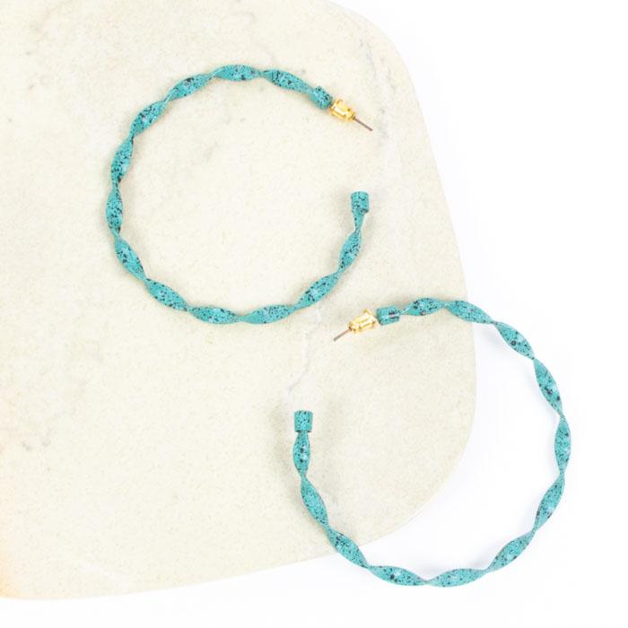 Teal twisted hoop earring | TradeAid