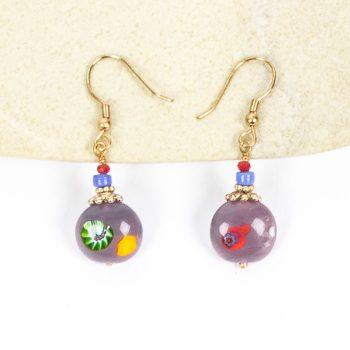 Purple glass bead earrings | TradeAid