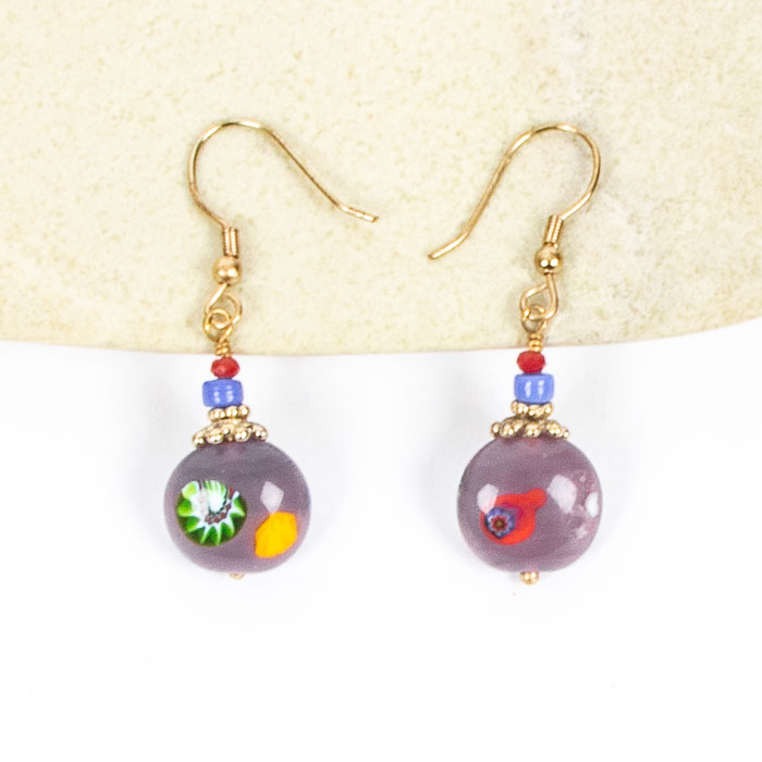 Purple glass bead earrings   TradeAid