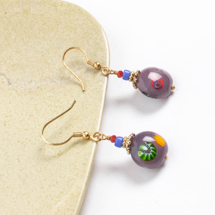 Purple glass bead earrings   Gallery 1   TradeAid