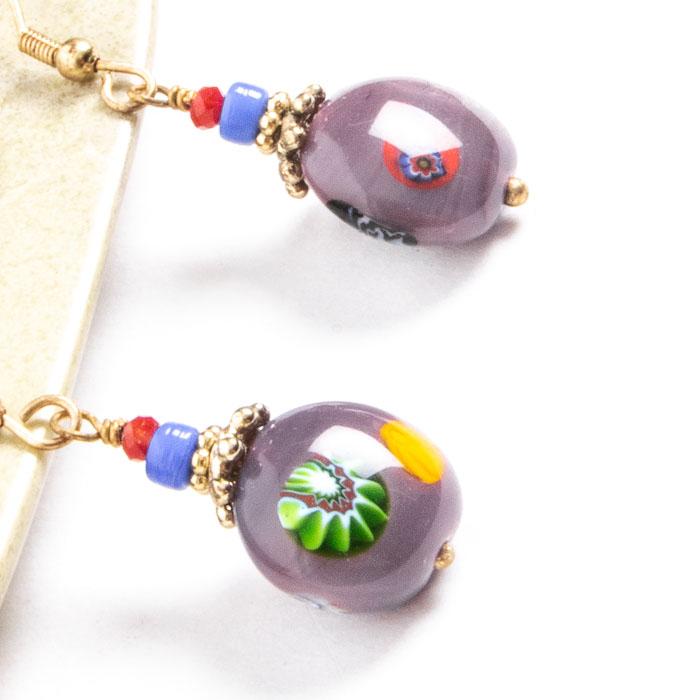Purple glass bead earrings | Gallery 2 | TradeAid