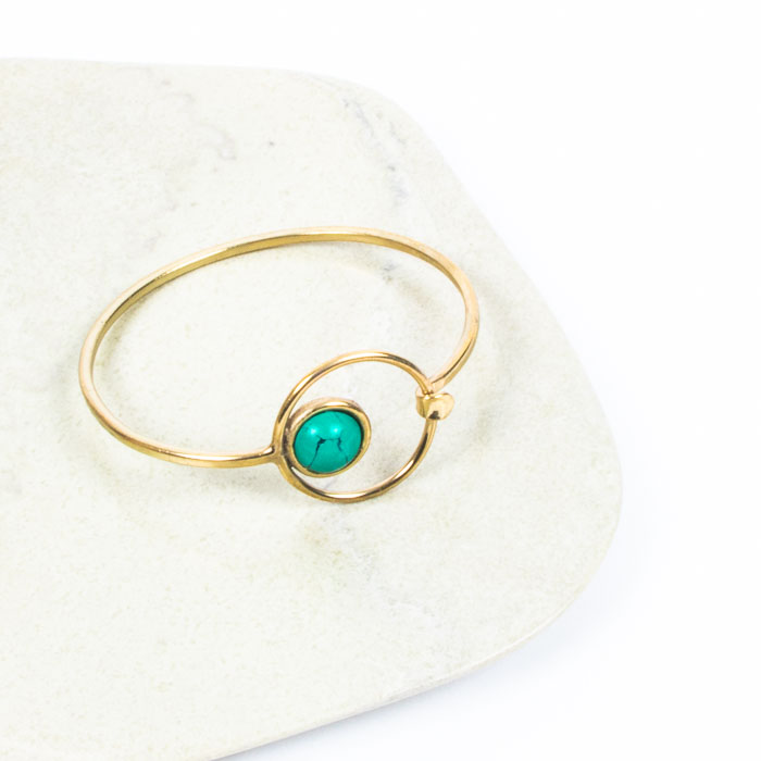 Brass bangle with turquoise clay bead | Gallery 1 | TradeAid