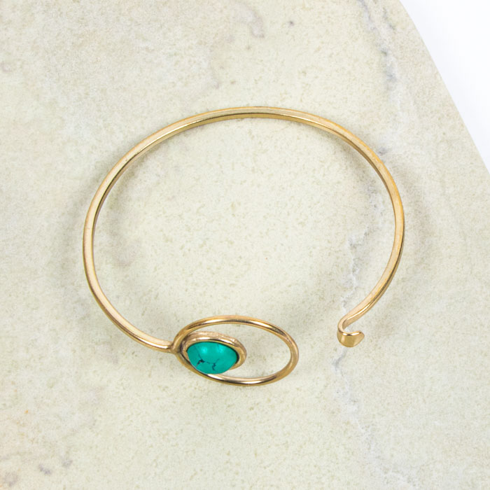 Brass bangle with turquoise clay bead | Gallery 2 | TradeAid