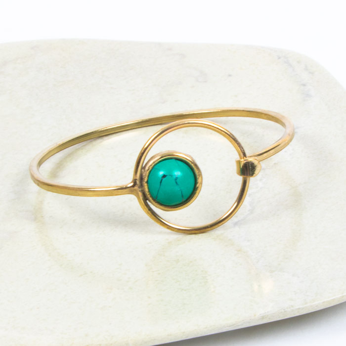 Brass bangle with turquoise clay bead | TradeAid