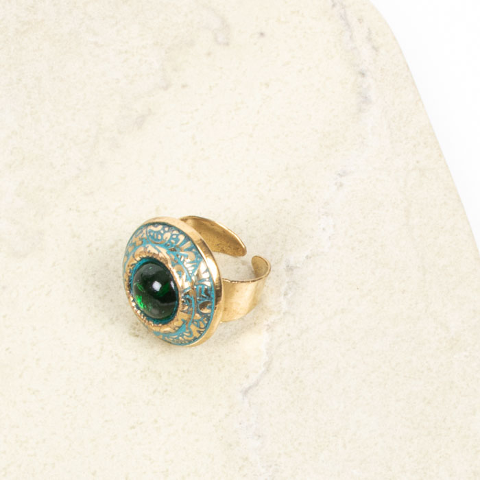 Brass ring with green glass stone | Gallery 2 | TradeAid