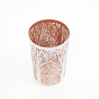 White and copper jali cut candle holder | Gallery 1 | TradeAid