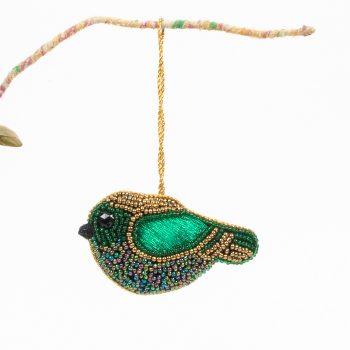 Green beaded bird hanging decoration | TradeAid