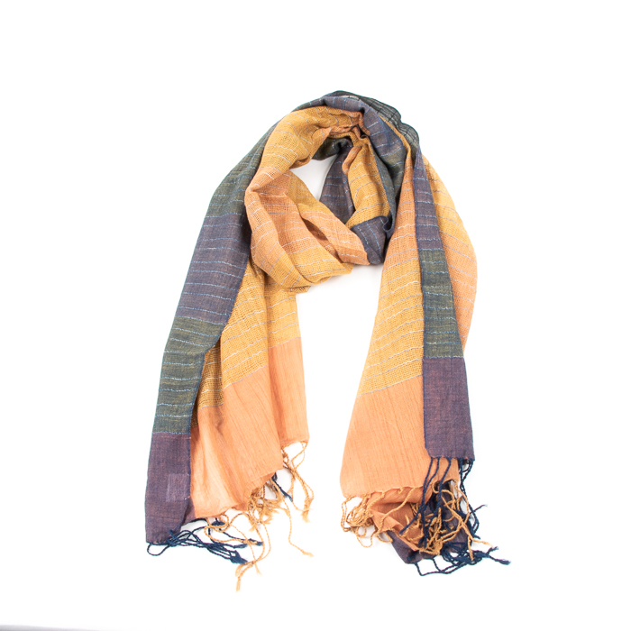 Blue and ochre organic cotton scarf | TradeAid