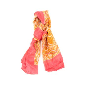 Orange and pink square silk scarf | TradeAid