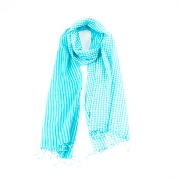Turquoise and white cotton scarf | TradeAid