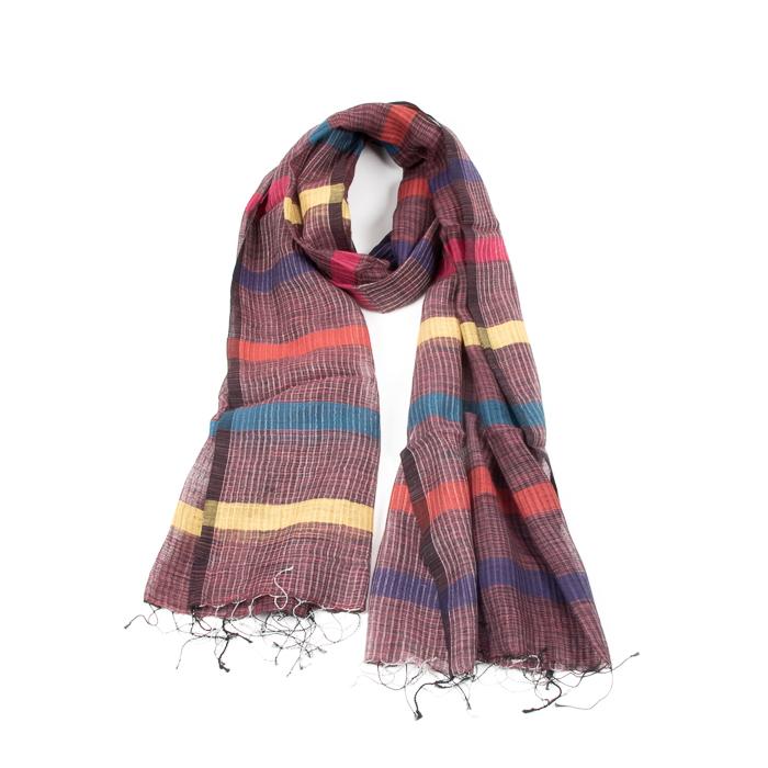 Purple stripe silk and cotton scarf | TradeAid