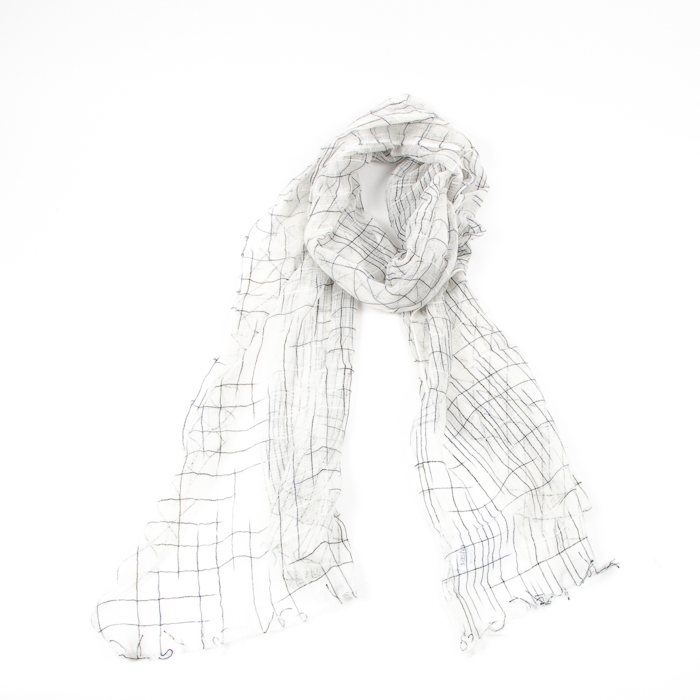 White cotton scarf with black thread | TradeAid