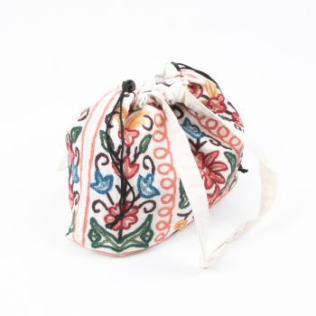 Large drawstring bag with wool embroidered kashmir design | Gallery 1 | TradeAid