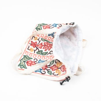 Large drawstring bag with wool embroidered kashmir design | Gallery 2 | TradeAid