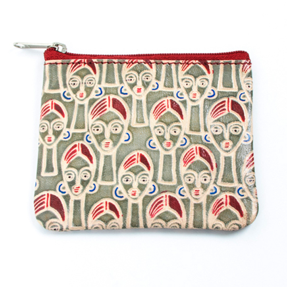 Face design leather coin purse   TradeAid