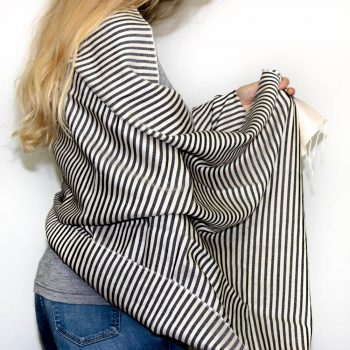 Black and cream stripe scarf | TradeAid