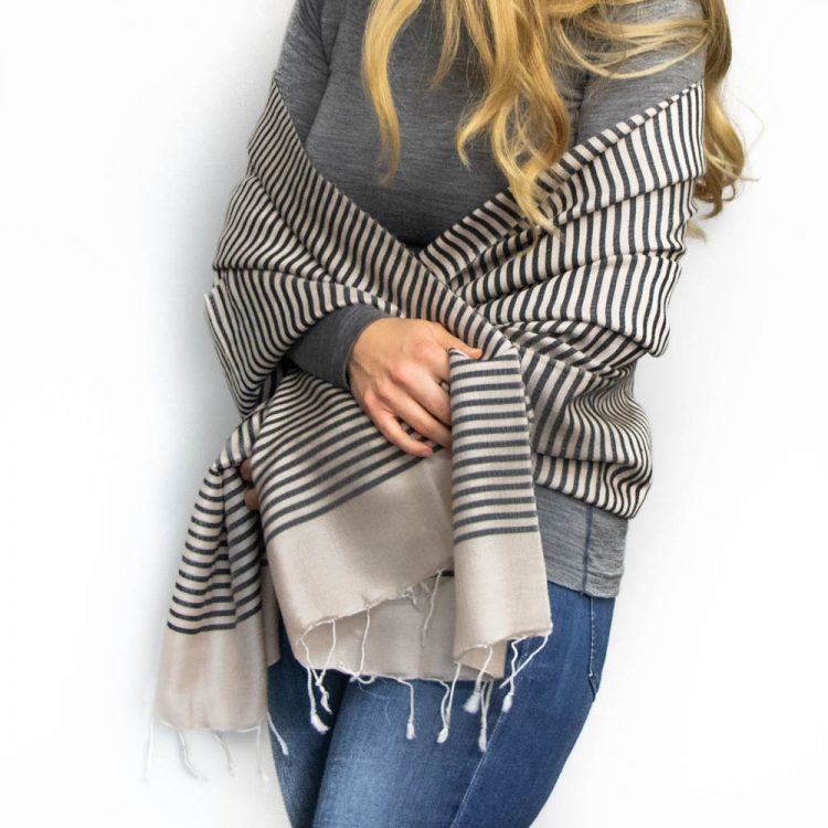 Black and cream stripe scarf | Gallery 1 | TradeAid