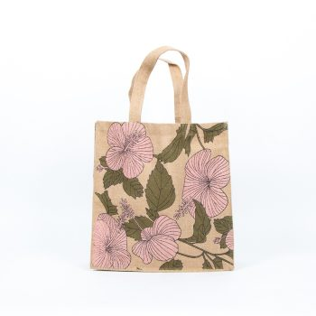 Hibiscus print unlined jute bag | Gallery 1 | TradeAid