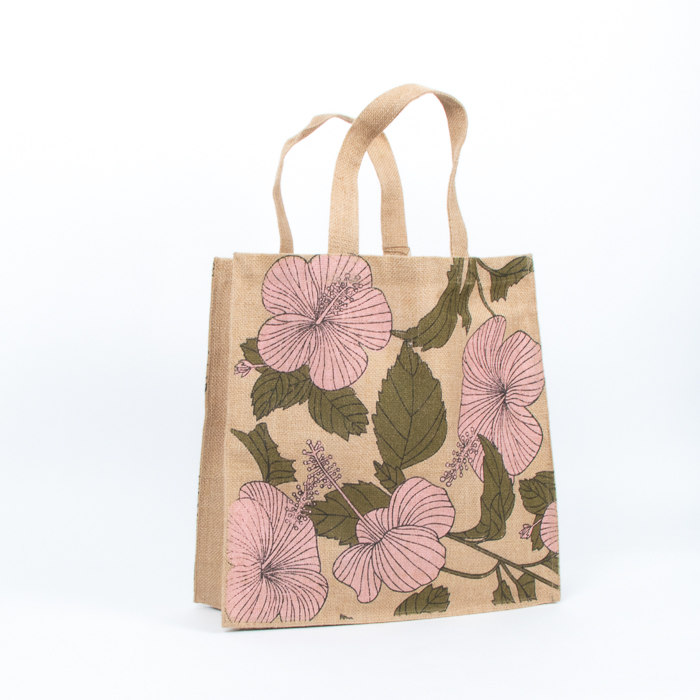 Hibiscus print unlined jute bag | TradeAid