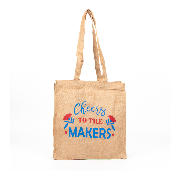 Cheers to the makers unlined jute bag | TradeAid