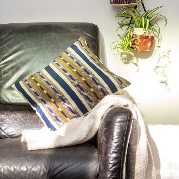 Green and blue cotton cushion cover | TradeAid
