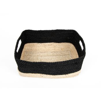 Black and natural rectangle jute basket | TradeAid