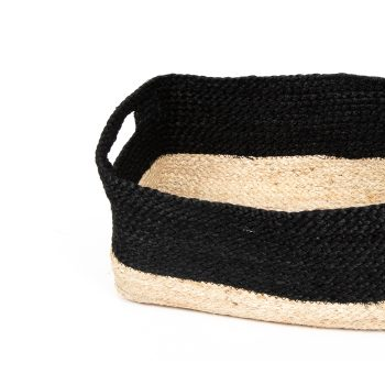 Black and natural rectangle jute basket | Gallery 1 | TradeAid