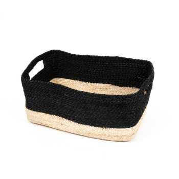 Black and natural rectangle jute basket | Gallery 2 | TradeAid