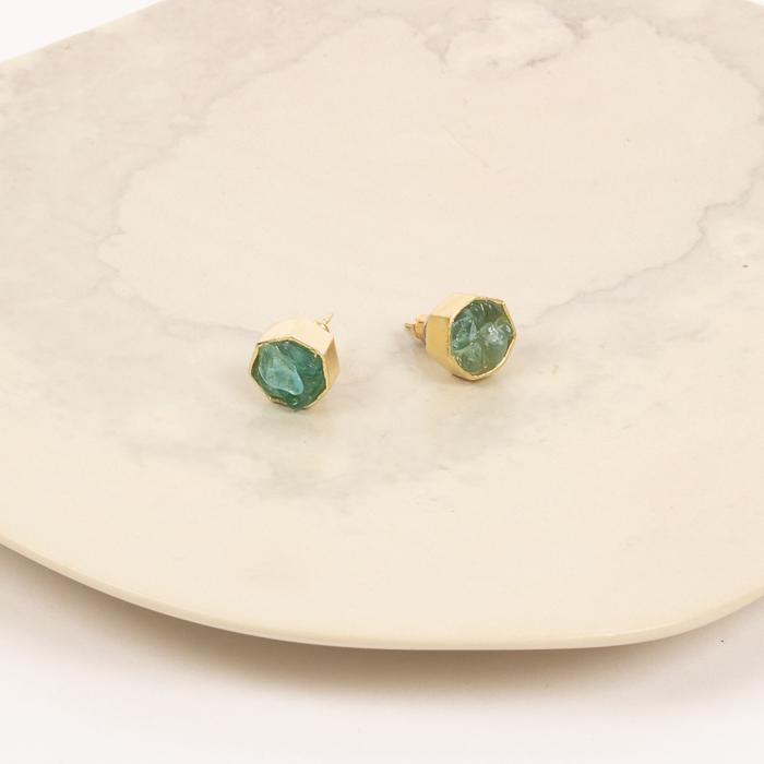 Green labrodorite crystals studs | Gallery 1 | TradeAid