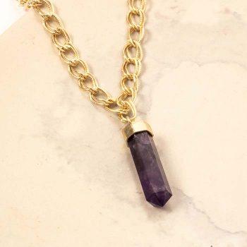 Purple stone pendant necklace | Gallery 1 | TradeAid