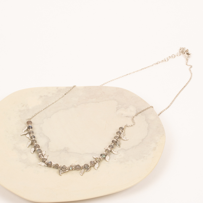Silver bead and leaf necklace | TradeAid