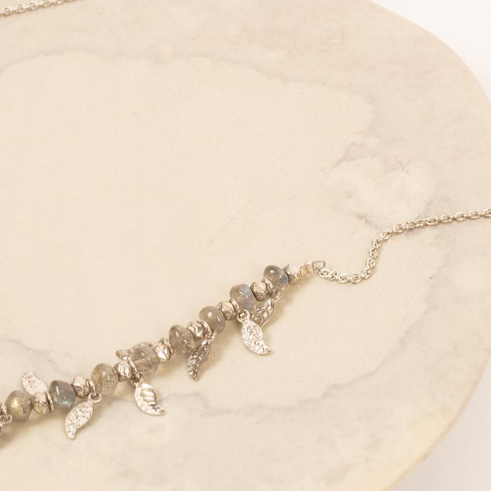 Silver bead and leaf necklace | Gallery 2 | TradeAid