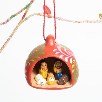 Hanging nativity scene in red pot   TradeAid