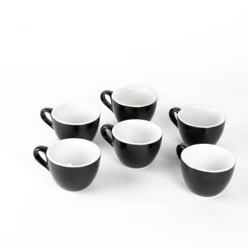 Black flat white cup (set of 6)   TradeAid