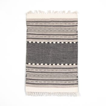 Small black and white dhurrie rug | TradeAid