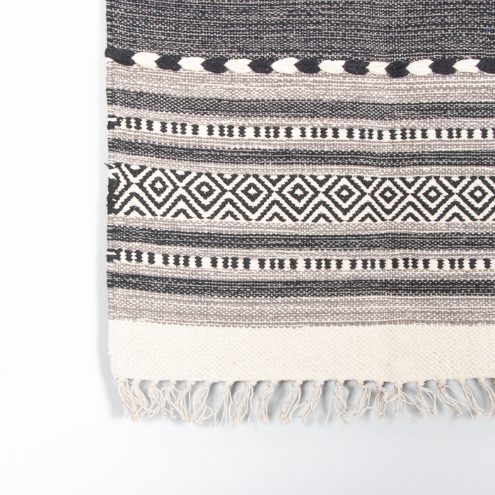 Small black and white dhurrie rug | Gallery 1 | TradeAid