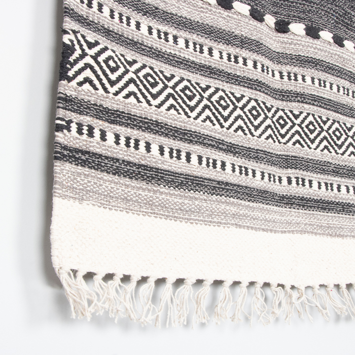 Small black and white dhurrie rug | Gallery 2 | TradeAid