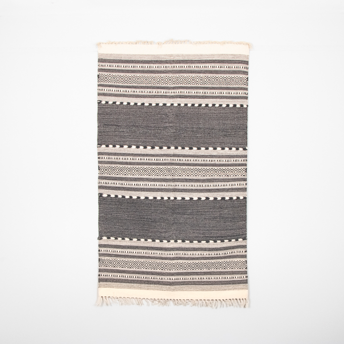Medium black and white dhurrie rug | TradeAid