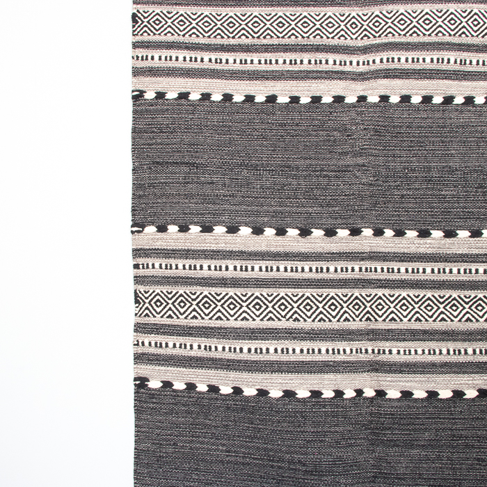 Medium black and white dhurrie rug | Gallery 2 | TradeAid